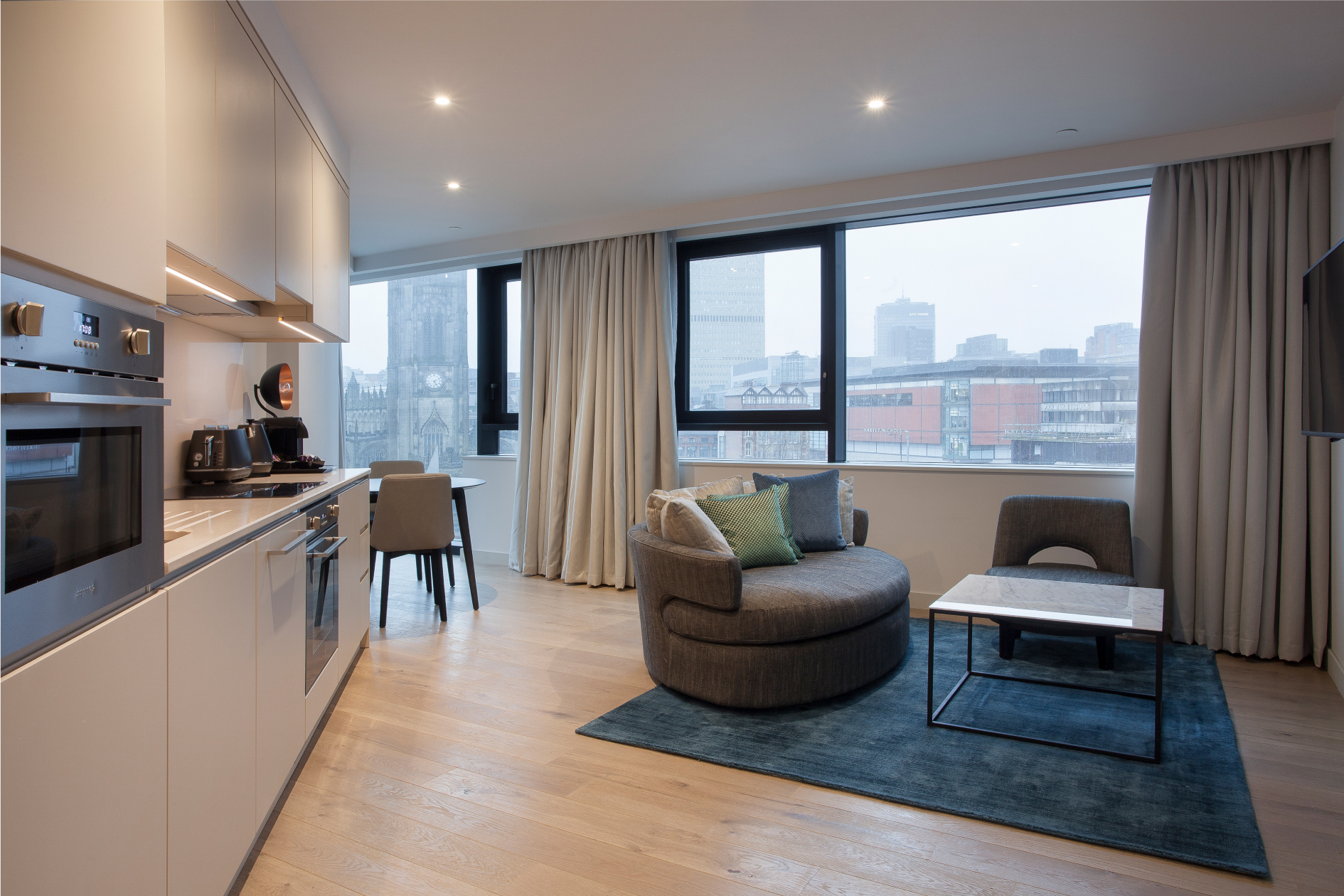 City View Premium One Bedroom Apartment Open Curtains
